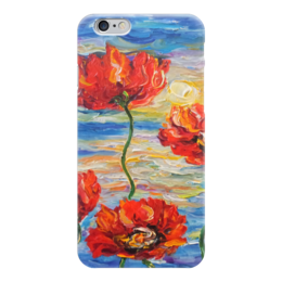 "Чехол для iPhone 6 глянцевый ""Отблески заката"" - солнце, море, красота, маки, red, poppy, flowers"