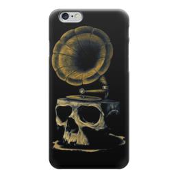 "Чехол для iPhone 6 ""Skull Art"" - skull, череп, artwork, граммофон, арт дизайн"
