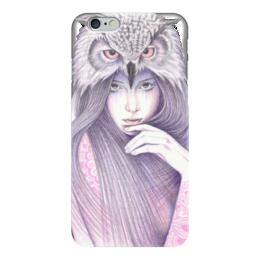 """Чехол для iPhone 6 глянцевый """"Девушка Сова"""" - девушка, сова, owl, иллюстрация"""