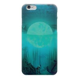 """Чехол для iPhone 6 """"Под водой"""" - солнце, вода, луна, водолаз"""