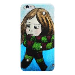 """Чехол для iPhone 6 """"Навстречу зиме"""" - рисунок, снег, девочка, шарф, ребенок"""