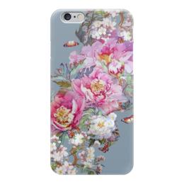 """Чехол для iPhone 6 глянцевый """"Цветочная акварель."""" - бабочки, цветы, коллаж, акварель, живопись"""