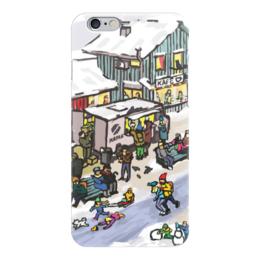 """Чехол для iPhone 6 глянцевый """"Winter town"""" - скандинавия, новый год, зимний город, коньки, зима"""