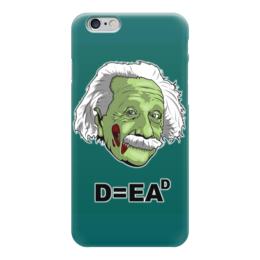 """Чехол для iPhone 6 глянцевый """"Zombie Einstein"""" - zombie, зомби, horror, ужасы, einstein, энштейн"""