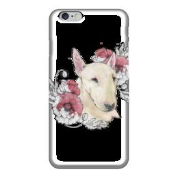 "Чехол для iPhone 6 ""Бультерьер"" - цветы, графика, акварель, маки, бультерьер"