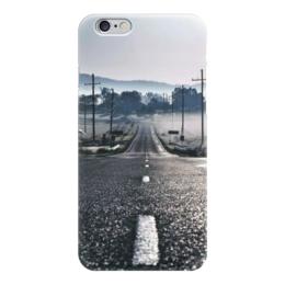 """Чехол для iPhone 6 """"Дорога"""" - дорога, страны, города, дизайн, пунктир"""