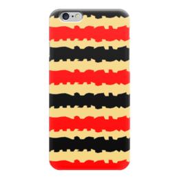 """Чехол для iPhone 6 """"Полоски с рванными краями"""" - полоска, черный, красный, бежевый, рванные"""
