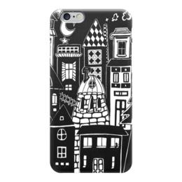 """Чехол для iPhone 6 """"Город вместе с тобой"""" - город, ночь, дом, луна, уют"""