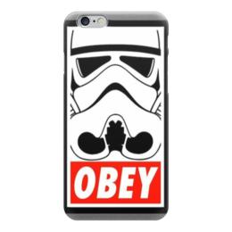 """Чехол для iPhone 6 глянцевый """"obey """" - star wars, obey, звездные войны, stormtrooper, штурмовик"""