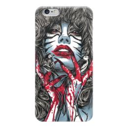 """Чехол для iPhone 6 """"Охотница"""" - девушка, кровь, иллюстрация"""