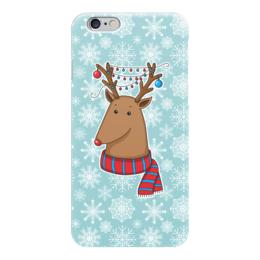 """Чехол для iPhone 6 """"Новогодний олень"""" - новый год, узор, снег, снежинки, олень"""