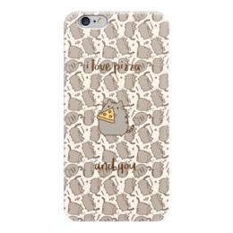 """Чехол для iPhone 6 """"Влюбленный котик"""" - 14 февраля, котик, я люблю, пицца"""