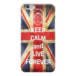 """Чехол для iPhone 6 глянцевый """"Keep calm and live forever"""" - oasis, keep calm, gallagher"""