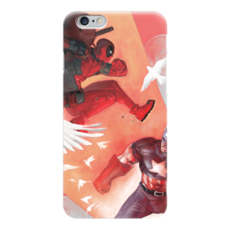 "Чехол для iPhone 6 ""Deadpool VS Captain America"" - комиксы, кэп, марвел, капитан америка, дэдпул"