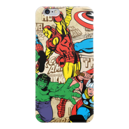 "Чехол для iPhone 6 ""Марвел"" - комикс, кэп, железный человек, тор, халк"
