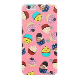 "Чехол для iPhone 6 глянцевый ""Капкейки на розовом фоне"" - еда, розовый, кексы, капкейки, вкусно"