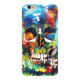 """Чехол для iPhone 6 """"Акриловый череп"""" - череп, краски, яркий, акрил"""