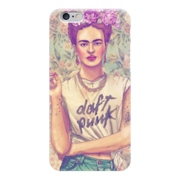 "Чехол для iPhone 6 глянцевый ""Frida Kahlo rocking Daft Punk"" - любовь, цветы, рок, тату, фрида"