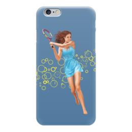 """Чехол для iPhone 6 глянцевый """"Девушка с теннисной ракеткой"""" - девушка, спорт, рисунок, теннис, ракетка"""