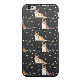 """Чехол для iPhone 6 Plus, объёмная печать """"Осень и корги"""" - собака, желтый, рыжая, корги, вельшкорги"""