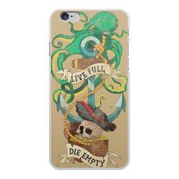 """Чехол для iPhone 6 Plus, объёмная печать """"Осьминог"""" - татуировка, якорь, пират, old school, череп"""