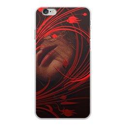"""Чехол для iPhone 6 Plus, объёмная печать """"Страсть."""" - девушка, губы, страсть, алый, скулы"""