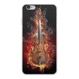 """Чехол для iPhone 6 Plus, объёмная печать """"МУЗЫКА ФЭНТЕЗИ"""" - огонь, скрипка, красота, яркость, стиль"""