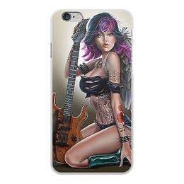 """Чехол для iPhone 6 Plus, объёмная печать """"МУЗЫКА ФЭНТЕЗИ"""" - девушка, гитара, стиль, красота, татуировка"""