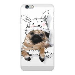 """Чехол для iPhone 6 Plus, объёмная печать """"Мопс в шапочке"""" - заяц, пес, щенок, собака, мопс"""