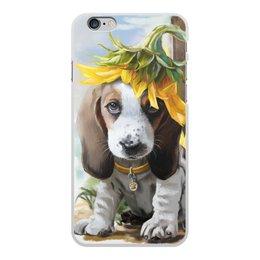 """Чехол для iPhone 6 Plus, объёмная печать """"Собака"""" - цветок, собака, животное"""