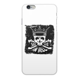 "Чехол для iPhone 6 Plus, объёмная печать ""see you in hell"" - череп, корона, надписи, see you in hell, увидемся в аду"