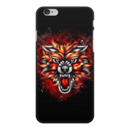 """Чехол для iPhone 6 Plus, объёмная печать """"Wolf & Fire"""" - огонь, волк, fire, дым, wolf"""