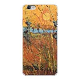 """Чехол для iPhone 6 Plus, объёмная печать """"Обрезанные ивы и закат (Винсент Ван Гог)"""" - картина, пейзаж, ван гог, живопись, постимпрессионизм"""