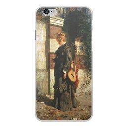 """Чехол для iPhone 6 Plus, объёмная печать """"Стрекоза («Лето красное пропела…»)"""" - девушка, гитара, картина, живопись, поленов"""