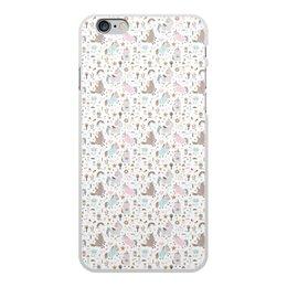 """Чехол для iPhone 6 Plus, объёмная печать """"Единороги"""" - животные, лошадь, радуга, мульт, единорог"""