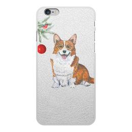 """Чехол для iPhone 6 Plus, объёмная печать """"Зимняя прогулка"""" - животные, собака, рыжий, корги, вельшкорги"""