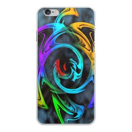 """Чехол для iPhone 6 Plus, объёмная печать """"Узор красок"""" - цветы, космос, пятна, краски, абстракция"""