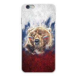 """Чехол для iPhone 6 Plus, объёмная печать """"Русский Медведь"""" - флаг, триколор, россия, футбол, медведь"""