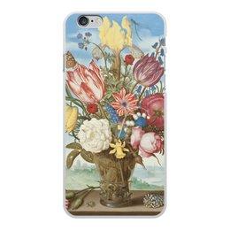 """Чехол для iPhone 6 Plus, объёмная печать """"Букет цветов на полке (Амброзиус Босхарт)"""" - цветы, картина, живопись, натюрморт, босхарт"""