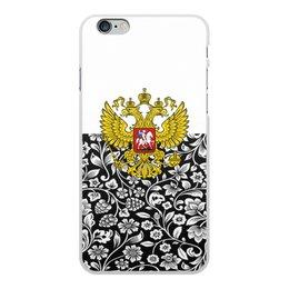 """Чехол для iPhone 6 Plus, объёмная печать """"Цветы и герб"""" - цветы, россия, герб, орел, хохлома"""