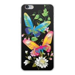 """Чехол для iPhone 6 Plus, объёмная печать """"БАБОЧКИ ФЭНТЕЗИ"""" - бабочки, цветы, стиль, красота, яркость"""