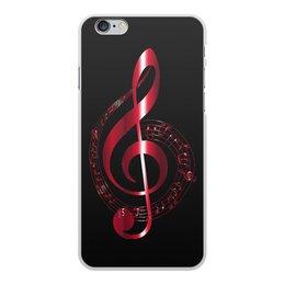 """Чехол для iPhone 6 Plus, объёмная печать """"МУЗЫКА """" - скрипичный ключ, нотный знак, стиль эксклюзив креатив красота яркость, арт фэнтези"""