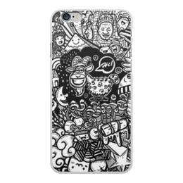 """Чехол для iPhone 6 Plus, объёмная печать """"Иллюстрация"""" - звезда, люди, баран, ананас, козел"""