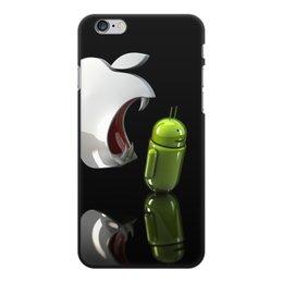 "Чехол для iPhone 6 Plus, объёмная печать ""Айфон против Андроид"" - айфон и андроид"