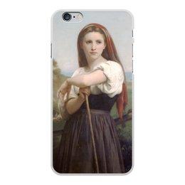 "Чехол для iPhone 6 Plus, объёмная печать ""Юная пастушка (картина Вильяма Бугро)"" - картина, академизм, живопись, бугро, крестьянка"