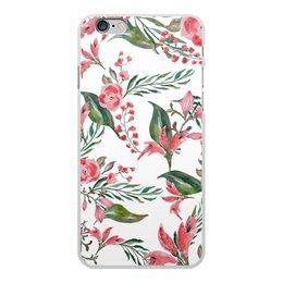 """Чехол для iPhone 6 Plus, объёмная печать """"Цветы на белом"""" - цветы, роза, листья, природа, пион"""