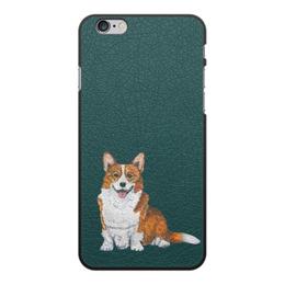 """Чехол для iPhone 6 Plus, объёмная печать """"Новогодний сюрприз """" - животные, собака, новыйгод, корги"""