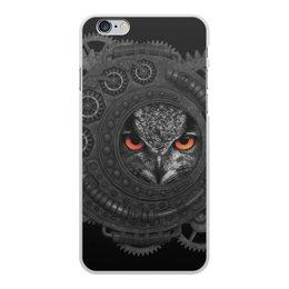 """Чехол для iPhone 6 Plus, объёмная печать """"Стимпанк сова"""" - сова, owl, steampunk, стимпанк, шестеренки"""