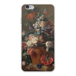 "Чехол для iPhone 6 Plus, объёмная печать ""Ваза с цветами (Ян ван Хёйсум)"" - цветы, картина, живопись, натюрморт, ян ван хёйсум"