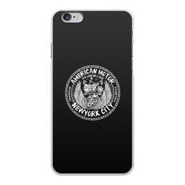 """Чехол для iPhone 6 Plus, объёмная печать """"American motor"""" - череп, гонки, мото, мотоциклы, american motor"""